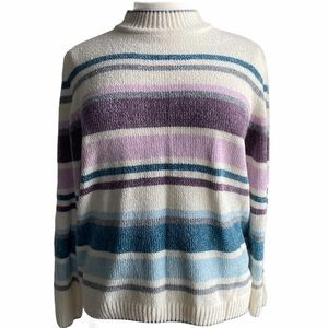 Alfred Dunner Blue, white, purple striped sweater